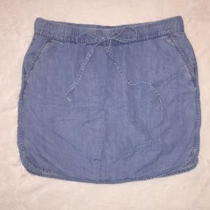 Small Tencel Chambray Pull on Skort W/ Drawstring